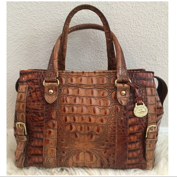 5f35cbecd2 Brahmin Handbags - Vintage BRAHMIN Croc Embossed Leather Satchel Bag